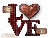 LOVE Red Tin Tile Heart Valentine Sublimation ~ Transfer Image ~ Cutting ~ 5 Files svg, pdf, png, eps, dxf ~ Printable Red Plaid Text Art