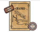 """Change Your Narrative Printable Sign ~ 8.5X11"""" JPG File ~ Wild West Aged Download ~ Encouragement Inspiration ~ Western TV Movie Party Decor"""