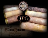"8 Cigar Wrap Papers on 2 Printable JPGs ~ Prohibition Speakeasy Party Aged Paper, Worn Faded Leather 4X4.5"" Images Fit Caramel Candy Rolls"