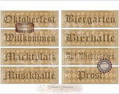 "OKTOBERFEST Printable Sign JPG Set ~ 8 German Aged Ivy Black Harlequin Greeting & Directional 4X11"" Banners ~ Willkommen, Prost, Bierhalle"
