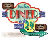 "PERSONALIZED Diner Cake Topper Printable JPG ~ Custom 8.5X11"" 1950s Retro Drive-in ""24 HOURS"" Blue Yellow Green Red Party Decor Classic Cars"