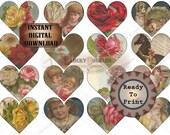 Valentine HEARTS Printable Sheet ~ JPG File ~ Victorian Scrap Flowers, Children, Animals ~ Junk Journal, Smash Book, Scrapbook Clip Art