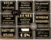 Roaring 20s Party Printable Sign ZIP and JPG File Set ~ Roaring 20s Prohibition Gatsby Party - Flappers, Gangsters, Bootleggers, Bathtub Gin
