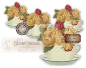 "Yellow Rose Teacup Bouquet SVG Vector Clip Art ~Jpg, Png, Eps, Dxf ~ 6X6"" Victorian Scrap ~ Cutting Machines, Tshirt, Craft, Tea Party Decor"