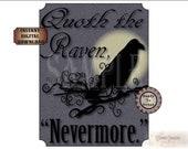 The Raven Printable Sign Nevermore Victorian Edgar Allan Poe Digital Halloween Party Decor Spooky Art Purple Black Full Moon Goth Image