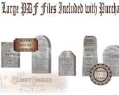 5 Gravestones Printable Wild West Party Decorations ~ Halloween Photo Booth Props ~ Humorous Steampunk Goth PDF Files Cemetery Headstones