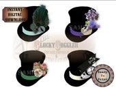 Steampunk Top Hats Printable JPG Clip Art Stickers Envelope Seals Scrapbook Junk Journal Smash Book ~ Clocks, Rabbit, Feather, Flowers, Gear