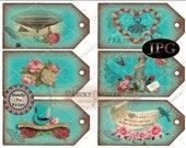 "Junk Journal Steampunk JPG ~ 6 Hang Tags ~ Victorian Scrap Rose Aqua ~ 2.5X5"" Worn Velvet Aged Price, Gift, Jewelry Cards ~ Paris, Airship"