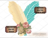Rosy Feathers Sublimation Transfer Image Cutting ~ 5 Files ~ svg, pdf, png, eps, dxf Turquoise Boho Printable Victorian Wedding Shower Decor