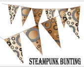 Steampunk Gears Pennants Printable Industrial Bunting Party Supply Neo-Victorian Nuts Bolts Gears Cogs Decor Digital File Sheet of 7 Flags