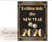 New Year 2020 Sign Rolling Into the NY Printable Roaring 20s Speakeasy Black Gold Art Deco Gatsby Party - New Year Decor 8.5X11 Digital File