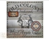 "HARD APPLE CIDER Crate Label ""Old Colony Orchards New York"" ~ 8X8"" Jpg ~ Barn Wood Bootlegger Prohibition Speakeasy Thanksgiving Fall Decor"