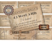 Speakeasy Table Card & Place Cards Set ~ JPG Digital Files~ Bucktooth Sally's Prohibition Era Roaring 20s Gatsby Party Wedding ~ Member Name