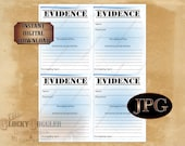 "EVIDENCE BAG Printable 4X5.25"" Zip Top Bag Labels Murder Mystery Escape Room or Spy Secret Agent Detective Event Props Party Decorations JPG"