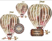 Victorian Girl Airship Dirigible Printable Junk Journal Embellishments ~ Steampunk Shabby Pink Dress Flying Balloon ~ Large Clip Art JPG