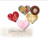 License Free Blank HEARTS ~ Template Sheet of 16 ~ 5 Files ~ pngs, pdf, svg, jpg ~ DIY Clip Art for Junk Journal, Scrapbook, Valentine's Day