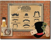 Guide to Mustache Styles Poster Printable 11x14 Barber Shop Steampunk Victorian Gentlemen Mustache Names Gunslinger Strong Man Vault Keeper