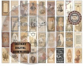 Steampunk Domino Tiles Printable JPG ~ Victorian London, Paris, Newport ~ Eiffel Tower, Green Light Lighthouse, Tea, Cthulu, Time Traveler