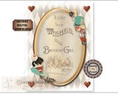 "Alice Birthday Girl Printable JPG Sign ~ Aged Steampunk Wonderland Looking Glass Mad Hatter ""Leave Wishes"" ~ Hats, Drink Me, Cakes, Eat Me"