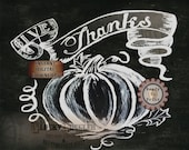 "Give Thanks Pumpkin Chalkboard Printable ~ JPG File ~ Hand Painted Thanksgiving Leaves Tendrils Harvest Decor ~ Chalk Art 8.5x11"" Americana"