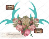 Rosy Deer Antlers Sublimation Transfer Image Cutting 5 Files svg, pdf, png, eps, dxf Turquoise Boho Printable Victorian Wedding Shower Party