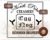 """EGG NOG Crate Label 8x8"""" Digital File Set ~ svg, pdf, png, eps, dxf """"North Pole Creamery Reindeer Delivery"""" Sublimation Graphics Black Text"""