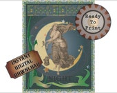 "Goddess Celestial NIGHT Printable Wall Decor Art Nouveau 8X10"" Absinthe Green Stars Stained Glass Border, Midnight Blue Edwardian Moon Woman"