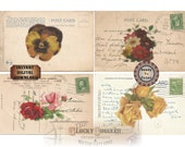 Edwardian Post Card Printable JPG, PNG Files ~ Salvaged Vintage Scrap Roses Pansies Flowers 1912 Postage Stamp Images ~ Note Cards Labels