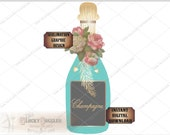 Rosy Champagne Bottle Sublimation Transfer Image Cutting ~ 5 Files svg, pdf, png, eps, dxf Turquoise Boho Printable Victorian Wedding Shower