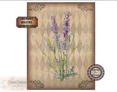 Lavender Printable JPG ~ Old World Style French Download ~ Aged Paper & Fabric Texture ~ Black and Sepia Harlequin Background ~ Scroll Work