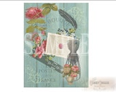 Alice's DRINK ME Junk Journal Sheet Printable JPG ~ Victorian Scrap Roses, Feather, Dress Form, Postes ~ Shabby Aqua Barn Wood Background