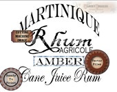 "Crate Label MARTINIQUE AMBER RUM 9x9"" Digital Set ~ svg, pdf, png, eps, dxf Rhum Agricole Bootlegger, Pirate Sublimation Graphics Text Image"