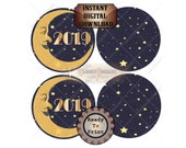 "2019 Christmas Ornament Printable Kit ~ JPG Digital File ~  4X4"" Paper Moon Round Blue Yellow Starry Sky Art Nouveau Tree Decoration Set"