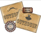 OUTHOUSE Sign Set Printable Restroom Signs ~ Mustache & Corset Wild West or Film TV Premiere Party Decor ~ Old West Bathroom Door Wall Art