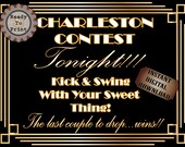 Speakeasy Sign Charleston Contest Printable Roaring 20s Prohibition Era Art Deco Gatsby Party Decor Wedding Dance Floor Sign Front Door Sign