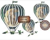 Celestial Airship Dirigible Printable ~ Junk Journal Relief Image ~ Steampunk Art Nouveau Goddess Flying Balloon Large Clip Art Digital Set