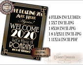 New Year 2020 Sign Set~ 4 Files ~ JPGs PDF Printable Party Decor~ The Roaring 20s Are Here Again WELCOME Have Roaring Good Time Art Deco