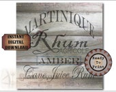"Crate Label MARTINIQUE AMBER RUM 9x9"" pdf ~ 1 Weathered Pirate Rhum Bootlegger Prohibition Speakeasy Old West Roaring 20s Shipping Box Decor"