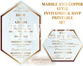Copper Marble Style Stationery Invitation RSVP Set ~ Hexagon Custom Printable Mixed Font Cards ~ Elegant Script & Type Open Face Invites