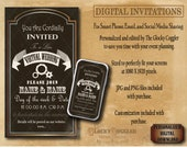 CUSTOM Smartphone DIGITAL INVITATION Virtual Wedding Party Invite ~ 2 Digital Files ~ Steampunk Gears ~ Edited for You ~ Print, Email, Text