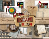 ESCAPE ROOM Printable Game Tripwire Tangle Mystery Kids' Detective Party JPGs ~ Minecart, Puzzles, Riddles, Secret Message Decoder Wheel