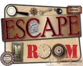 ESCAPE ROOM 4 Sign Set Cake Topper Digital Files ~ pdf, jpg ~ Aged Paper Party Decor ~ Clock, Gear, Key, Lock, Magnifying Glass, Fingerprint