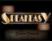 "SPEAKEASY Sublimation 6x24"" Files ~ svg, pdf, png, eps, dxf  Gold Art Deco Bootlegger Transfer Image ~ Bar Saloon Wall Art ~ Roaring 20s Art"
