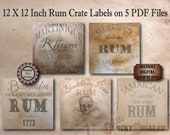 """5 Prohibition Crate Labels Printable PDFs ~ 12X12"""" Aged Paper Images ~ Caribbean Sailor Strength, Jamaican, Barbados, Martinique Rum Props"""