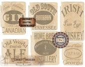 6 Liquor Bottle Labels Printable Bootlegger Prohibition Speakeasy Party Roaring 20s Wedding Decor Rye Whiskey Bourbon Gin Ale Home Brew