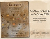 HALLOWEEN Escape Room SCAVENGER HUNT Printable jpg File Party, Trick or Treat ~ Aged Paper Drawn, Photographed, Victorian Salvaged Images