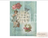 """Cats """"Tea Time"""" Junk Journal Sheet Printable JPG ~ Victorian Scrap Roses, Clock, Girl, Mad Hatter Quote ~ Shabby Aqua Barn Wood Background"""