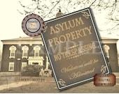 "Asylum NO TRESPASSING Printable Digital Party Prop Set 5 Files ~  4 Sizes Aged Paper ~ ""Violators Admitted"" ~ Created Hospital Ephemera"