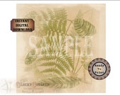 """Fern Soap Gift Wrap Printable Sheet ~ Vintage Tropical Rainforest Leaves Aged Paper Wrapping Paper JPG Download ~ 8"""" Square Bar Packaging"""