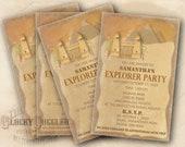 "PERSONALIZED Explorer Party Invitation Printable ~ CUSTOM Egyptian Pyramid Temple 5.25X8.25"" JPG Adventure Treasure Hunter Around the World"